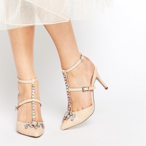 Women's White Stiletto Heels Dress Shoes T Strap Cute-Adorable Pumps With Synthetic Gemstone image 1