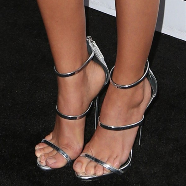 Women's Silver Sandals Heels Open Toe Stiletto Heels image 1
