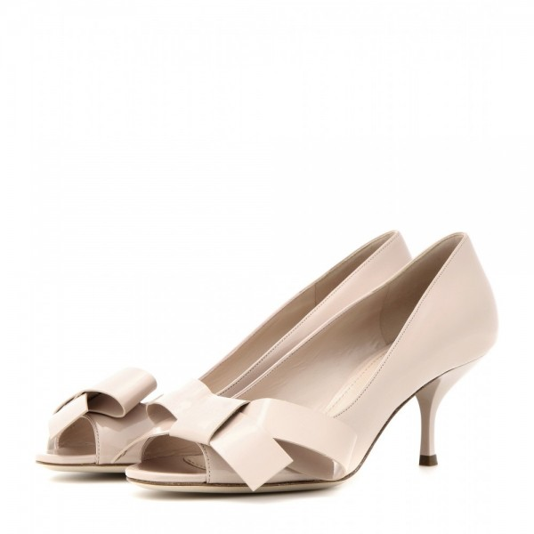 Women's Cute Beige Peep Toe Stiletto  Heels Pumps image 1