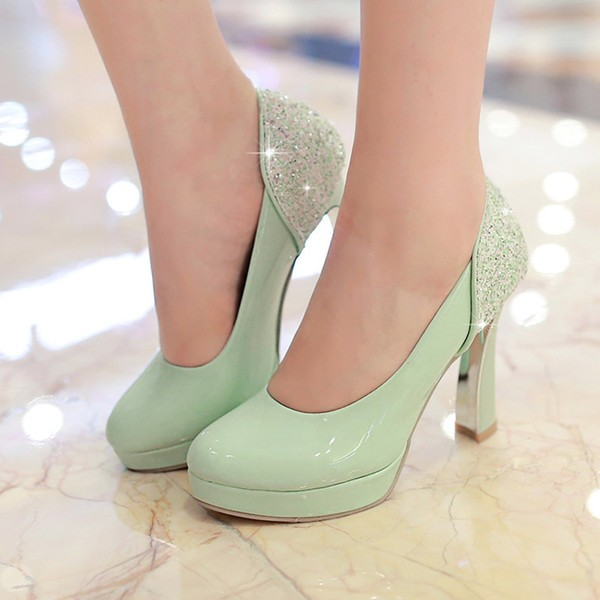 Women's Green  Sequined Chunky Heels Round Toe Commuting Shoes  image 1
