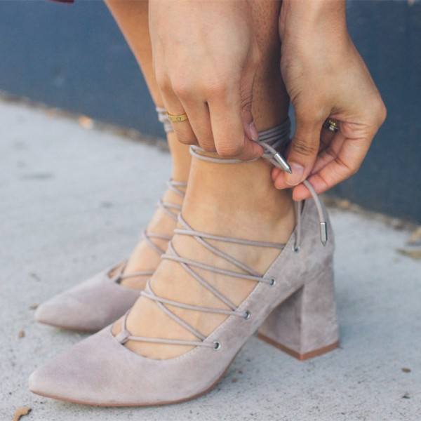 Grey Strappy Heels Lace up Chunky Heel Suede Pumps for Women image 1