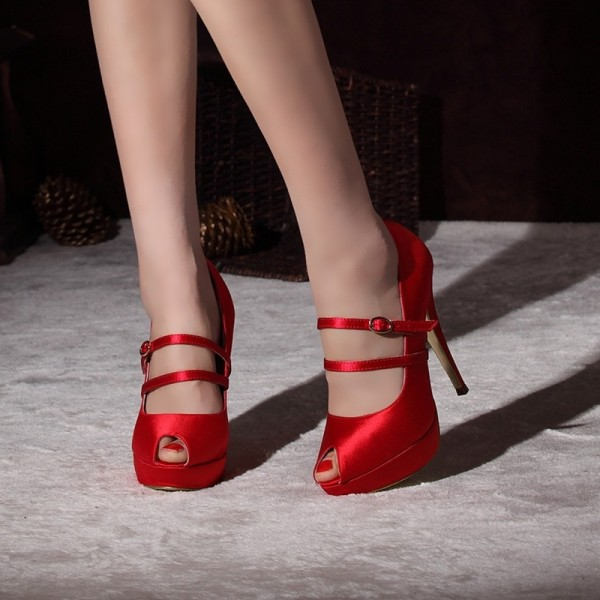 Women's Coral Red Almond Toe Mary Jane Shoes Stiletto Heels Pumps For Wedding image 1