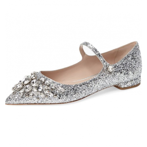 Silver Wedding Shoes Rhinestone Comfortable Flats Pointed Toe Bridal Shoes image 1