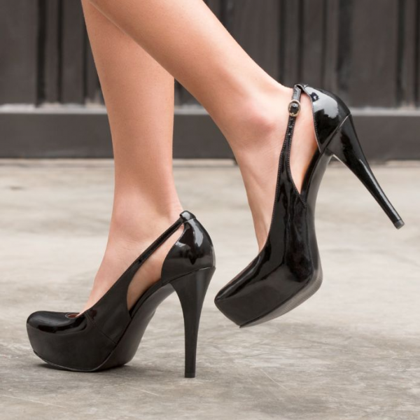 Women's Black Office Heels Platform Pumps Stiletto Heels Dress Shoes image 1