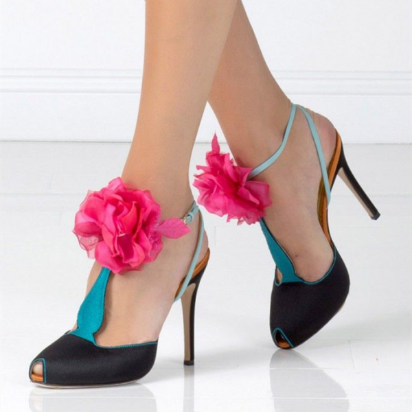 Black And Bule Heels T Strap Sandals Peep Toe Stiletto Heels With Flowers image 1