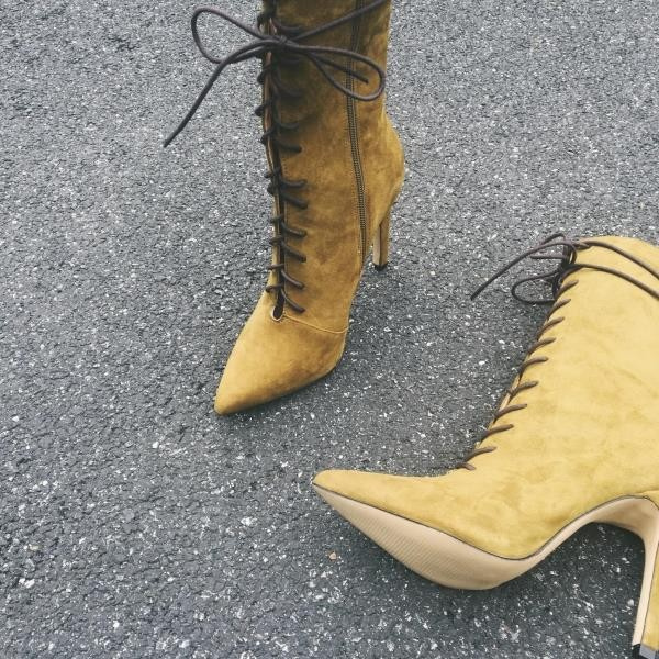 Mustard Lace up Boots Pointy Toe Suede Stiletto Heel Booties image 1