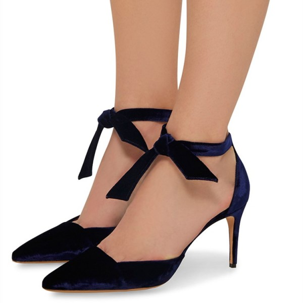 Navy Velvet Heels Ankle Strap Stiletto Heel Pumps for Office Lady image 1
