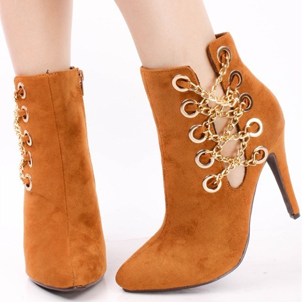 Tan Boots Suede Stiletto Heel Fashion Ankle Booties with Metal Chains image 1