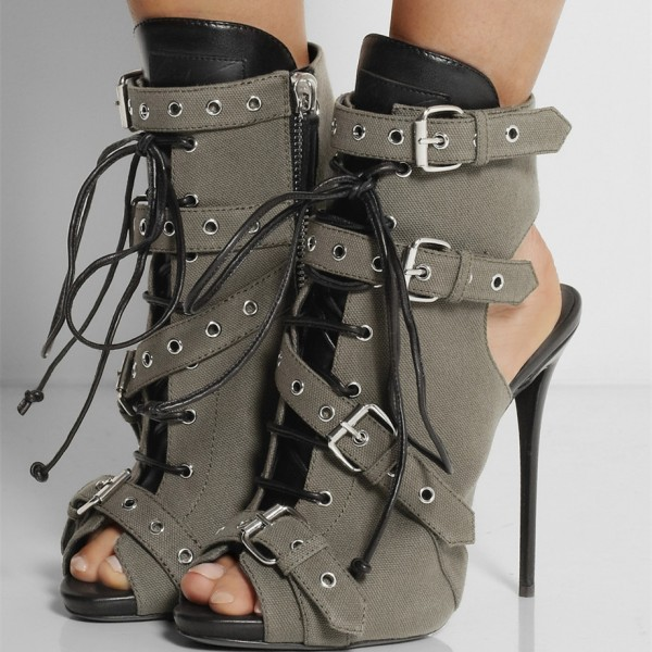 Grey Lace up Boots Peep Toe Slingback Ankle Booties with Buckles image 1