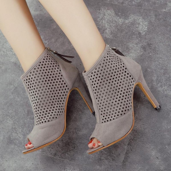 Grey Heeled Boots Hollow out Suede Stiletto Heel Ankle Booties image 1