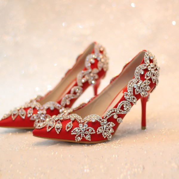 Women's Red Rhinestone Stiletto Heels  Pumps Wedding shoes image 1