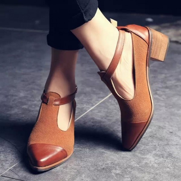 Tan Suede T Strap Vintage Shoes Block Heel Ankle Strap Pumps image 1