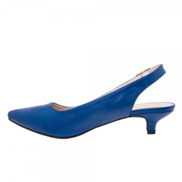 Women s Blue Pointed toe Heels Slingback Kitten Heels Pumps image ...