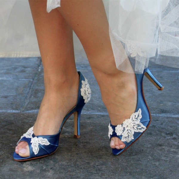 Women's Blue Wedding Shoes Peep toe Lace Stiletto Heels Pumps  image 1