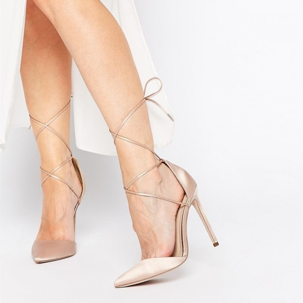 Women's Nude Strappy Heels Pointy Toe Stilettos Pumps image 1