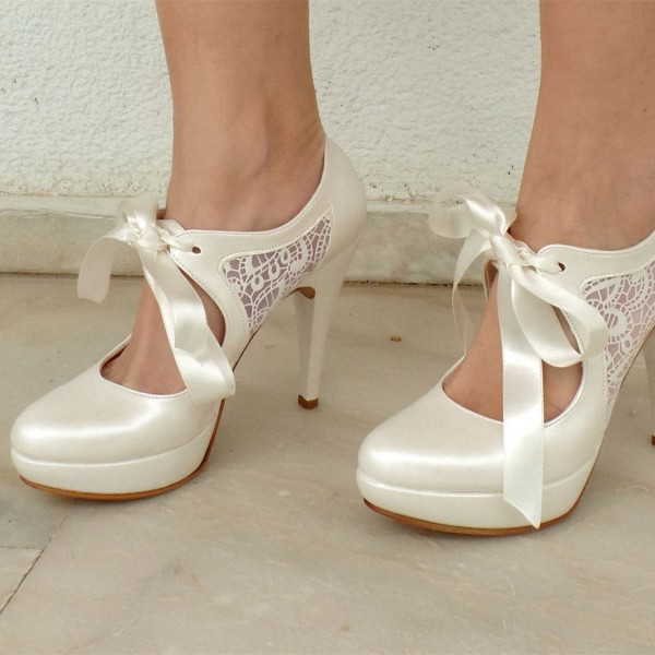 White Mary Jane Pumps Lace Platform High Heels Wedding Shoes image 1