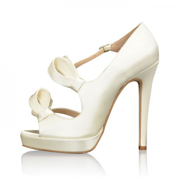 White Satin Bridal Sandals Peep Toe Platform High Heels for Wedding image 1