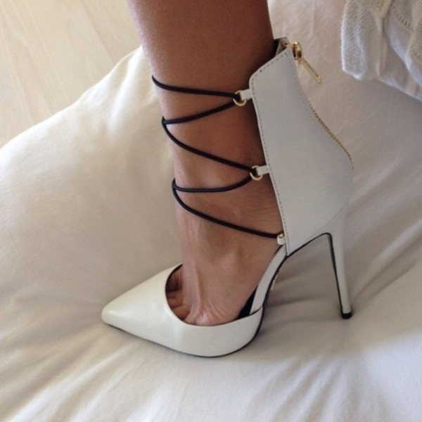 Women's White Poited toe Hollow out Stiletto Heels Strappy Pumps image 1