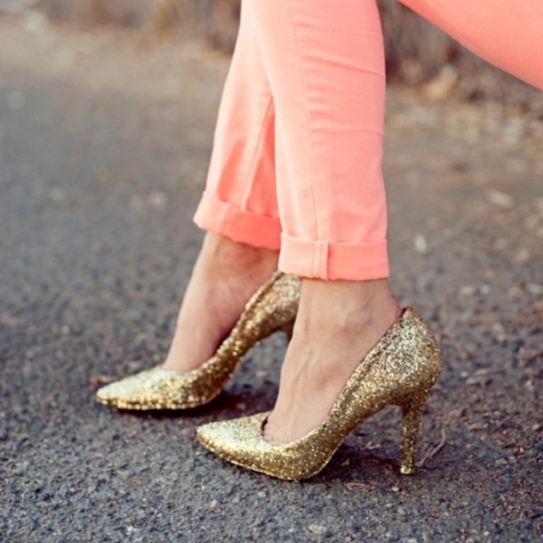 Women's Golden Pointed toe Glitter Stiletto Heel Pumps image 1