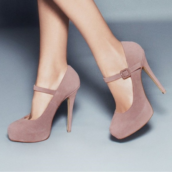 Blush Mary Jane Pumps Closed Toe Suede Platform High Heels Shoes image 1