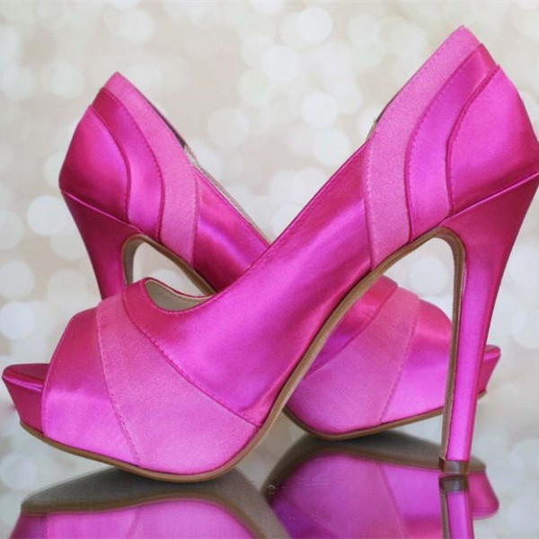Women's Pink Platform Pumps Peep Toe Stilettos High Heels image 1