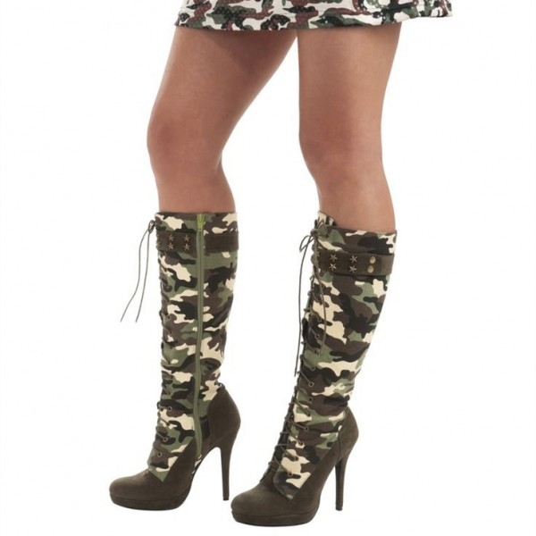 Camouflage Lace up Boots Stiletto Heels Knee-high Boots with Platform image 1