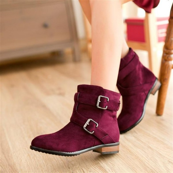 Burgundy Short Boots Round Toe Comfy Flat Suede Boots image 1