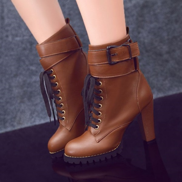 Tan Boots Lace up Round Toe Chunky Heel Ankle Boots  image 1