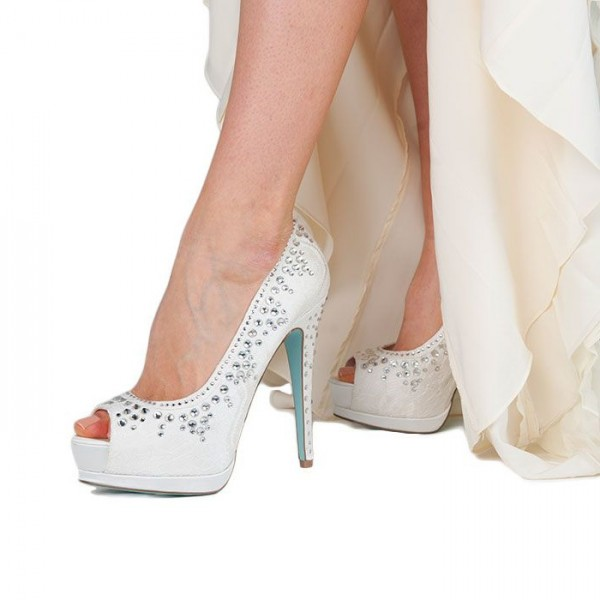 Royal White Wedding Shoes Peep Toe Satin Rhinestone Stiletto Heels Pumps with Platform image 1