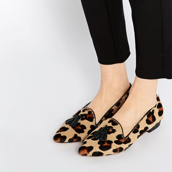 67aaaf039905 Women s Comfortable Suede Cute Leopard Print Flats Shoes for Work ...