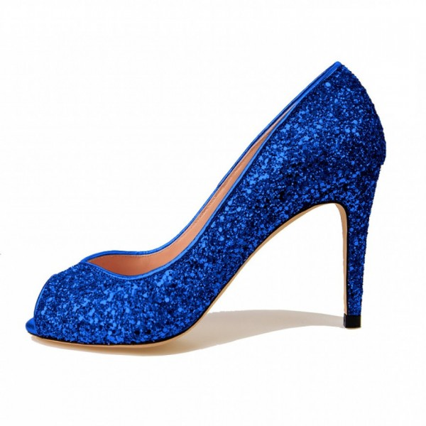 Women's Blue Peep toe Glitter Stiletto Heel Pumps Bridal shoes image 1