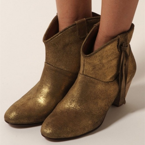 Women's  Brown Suede Ankle Chunky Heel Boots image 1
