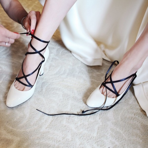 White Wedding Shoes Chunky Heel Lace up Pumps for Bridal image 1