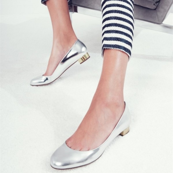 Women's Silver Almond Toe Elegant Comfortable Flats image 1