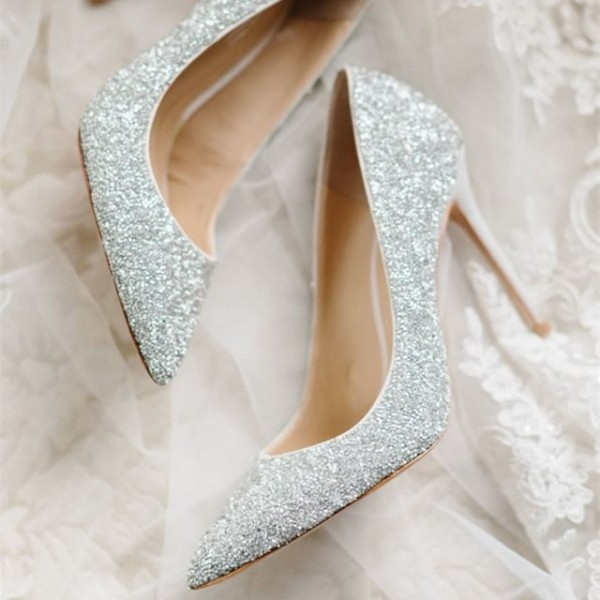 Women's Sliver Pointed Toe Sequined Stiletto Heel Pumps Bridal Heels image 1
