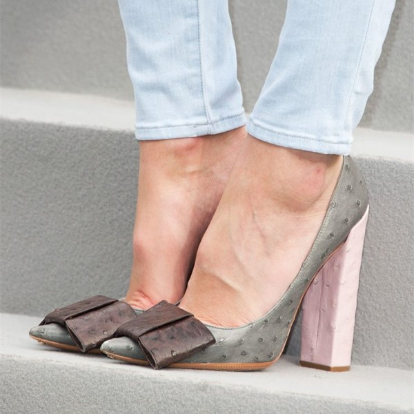 Grey Bow Heels Vegan Ostrich Skin Pointy Toe Chunky Heel Pumps image 1
