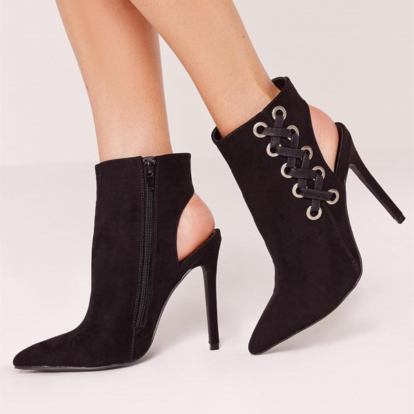 Women's Black Stiletto Boots Pointy Toe Heels Office Shoes  image 1