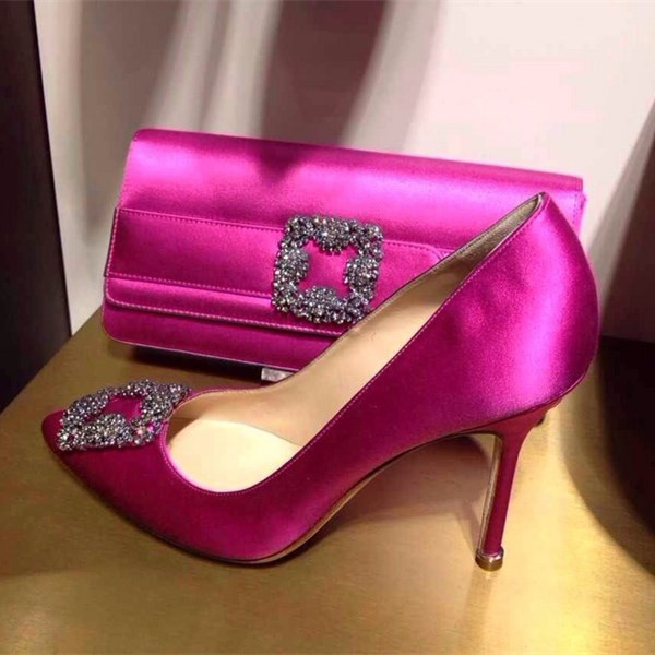 Fuchsia Wedding Shoes Satin Rhinestone Stiletto Heel Pumps  image 1