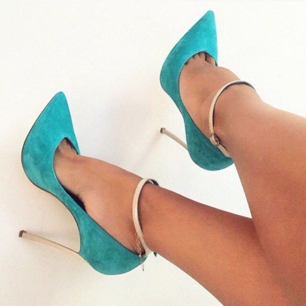 Turquoise Heels Ankle Strap Suede Stiletto Heel Pumps for Office Lady image 2