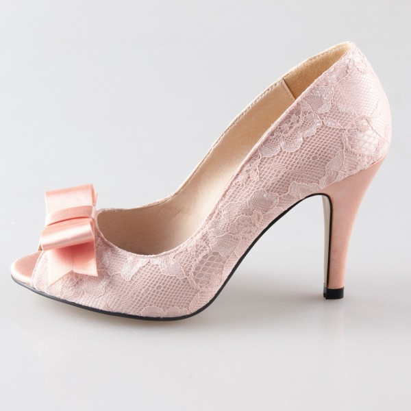 Pink Wedding Shoes Lace Heels Peep Toe Pumps with Bow image 1