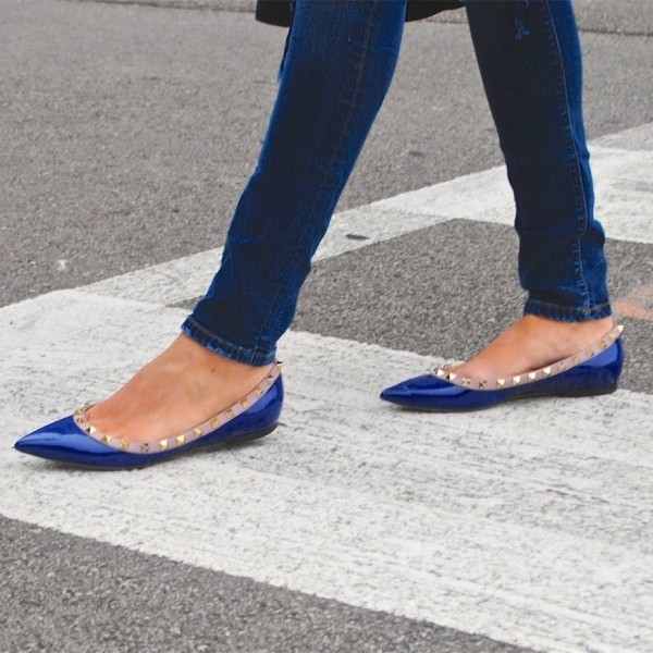 Blue Patent Leather Pointy Toe Flats Rock Studs Trendy Shoes image 1