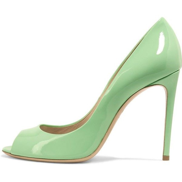 Women's Mint Green Peep Toe Heels Patent Leather Stiletto Pumps image 1