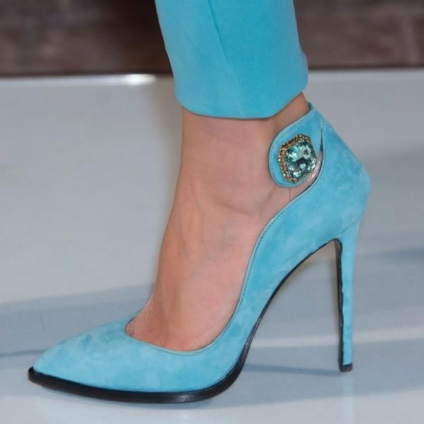 Light Blue Prom Shoes Suede Stiletto Heel Pumps with Rhinestone image 1