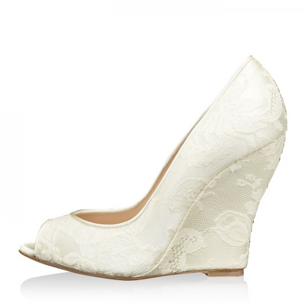 Ivory Wedding Shoes Lace Heels Peep Toe Wedge Pumps for Bride image 1