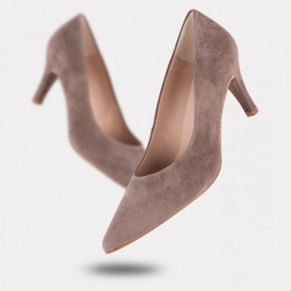 Women's Brown Stiletto Heels Suede Pointy Toe Pumps image 1
