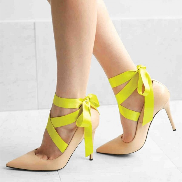 Women's Nude Pointy Toe Lace Up Ribbon Strappy Heels Pumps image 1