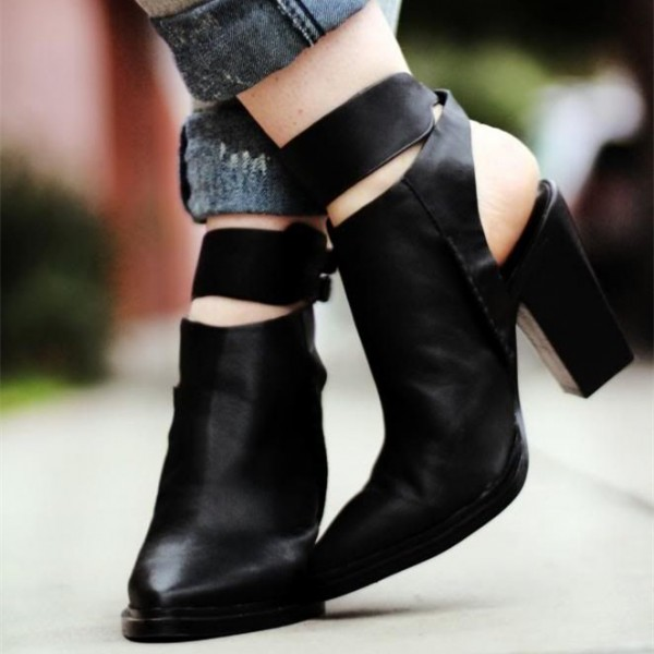 Women's Black Pointy Toe Slingback Ankle Strap Chunky Heels Boots image 1