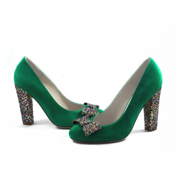 Women's Green Suede Colorful Glitter Bow Chunky Heels Pumps image 1