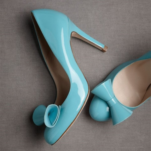 Aqua Shoes Round Toe Patent Leather Bow Heels Stiletto Heel Pumps image 1
