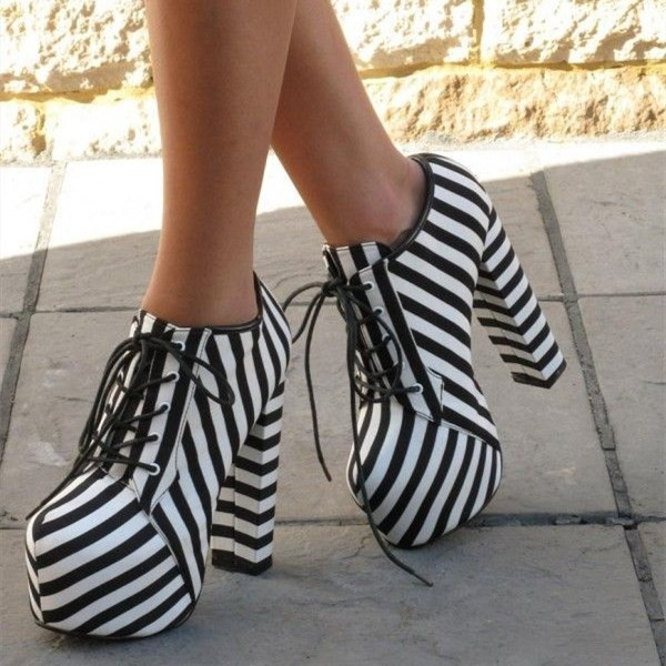 dd2a3f49225 Black and White Stripes Platform Boots Chunky Heel Lace Up Ankle Boots